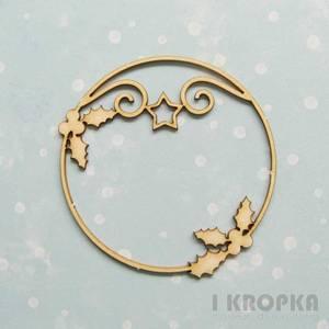 Bilde av I Kropka - Chipboard - First star - Frame round - holly and star