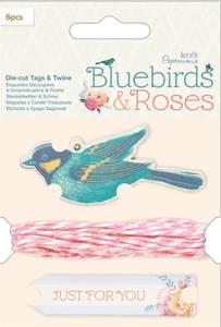 Bilde av Docrafts - Papermania - Bluebirds & Roses - Die-cut Tags & Twine